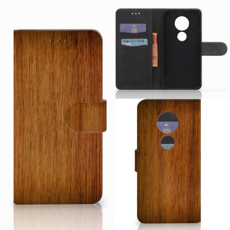 Motorola Moto E5 Play Book Style Case Donker Hout
