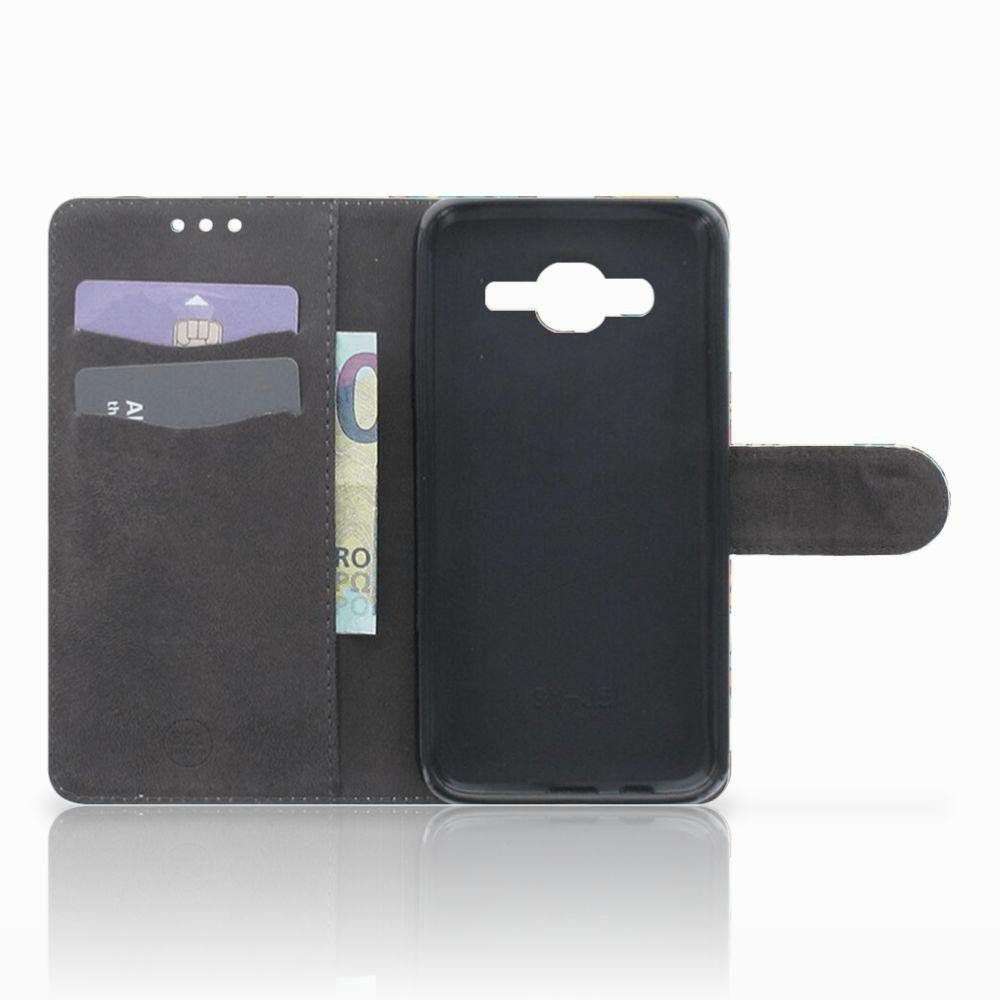 Samsung Galaxy J5 (2015) Telefoonhoesje met Pasjes Vrolijke Uilen