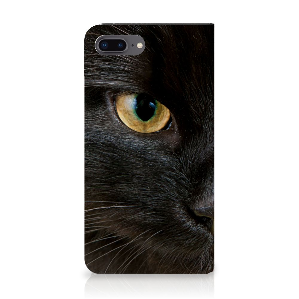 Apple iPhone 7 Plus | 8 Plus Uniek Standcase Hoesje Zwarte Kat