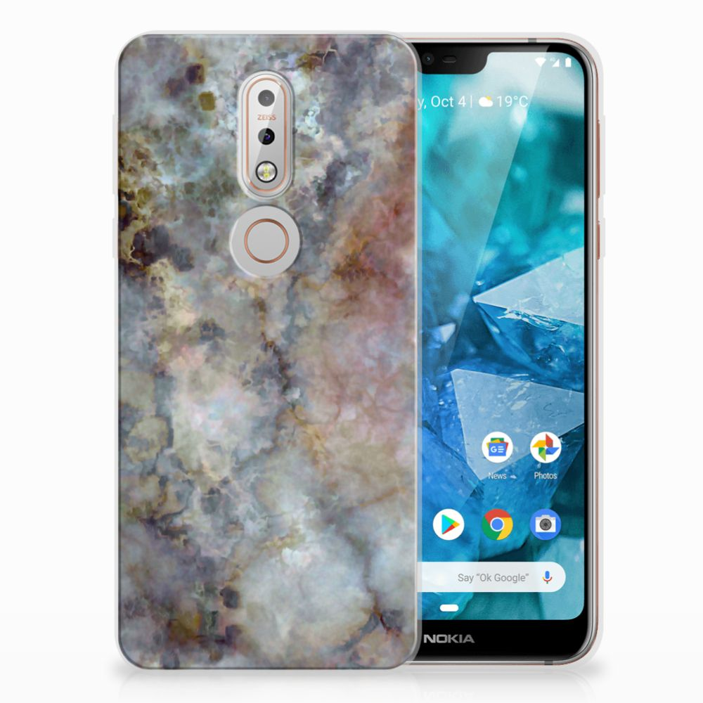 Nokia 7.1 TPU Hoesje Design Marmer Grijs