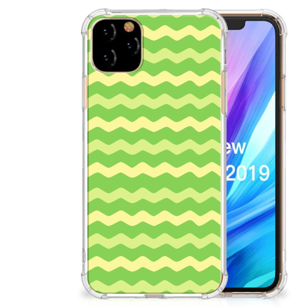Apple iPhone 11 Pro Max Doorzichtige Silicone Hoesje Waves Green