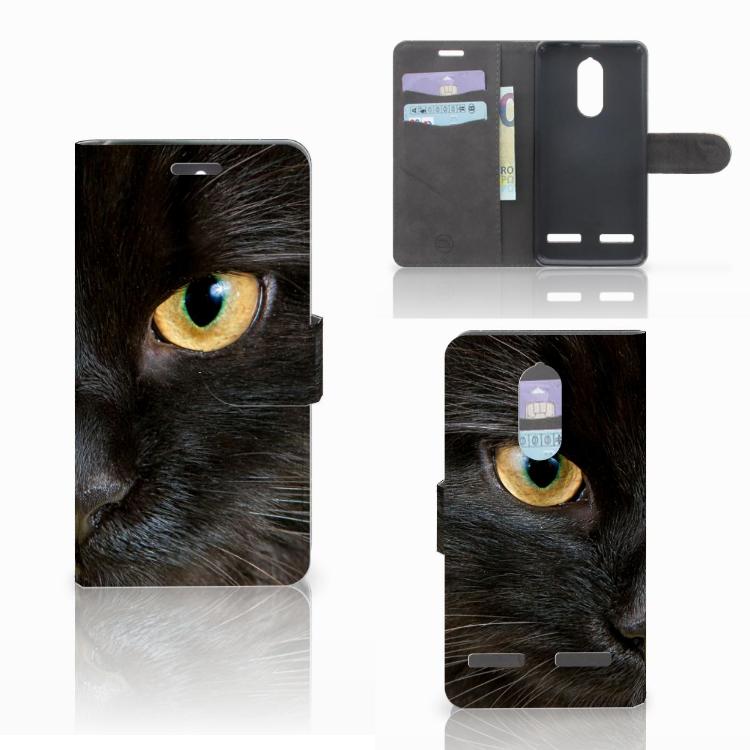Lenovo K6 Telefoonhoesje met Pasjes Zwarte Kat