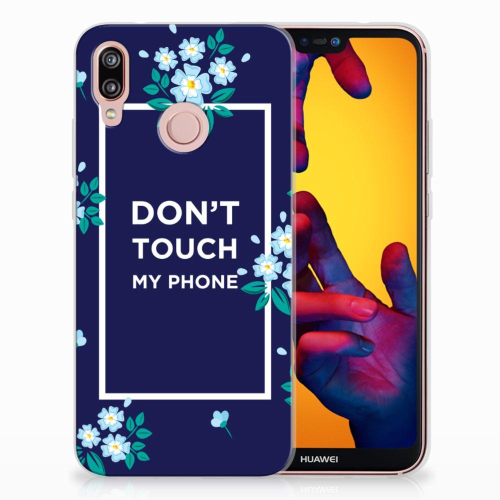 Huawei P20 Lite TPU Hoesje Flowers Blue DTMP