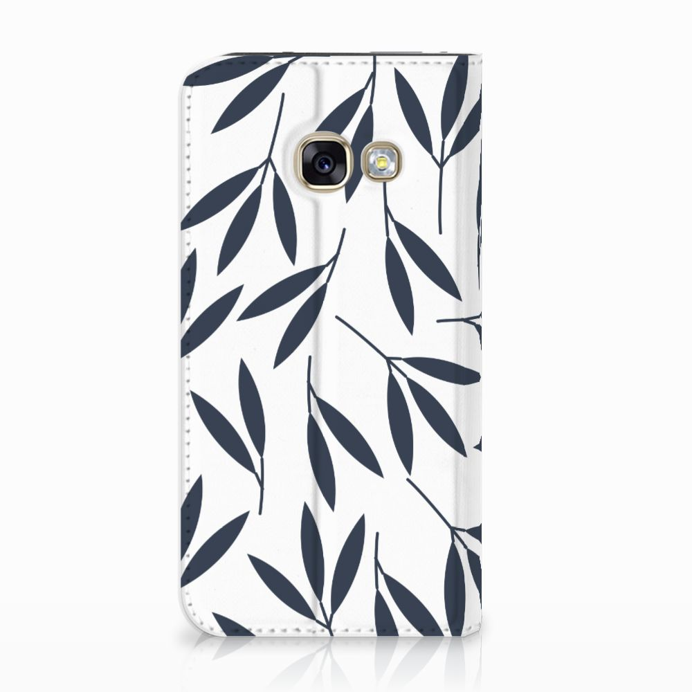 Samsung Galaxy A3 2017 Standcase Hoesje Design Leaves Blue