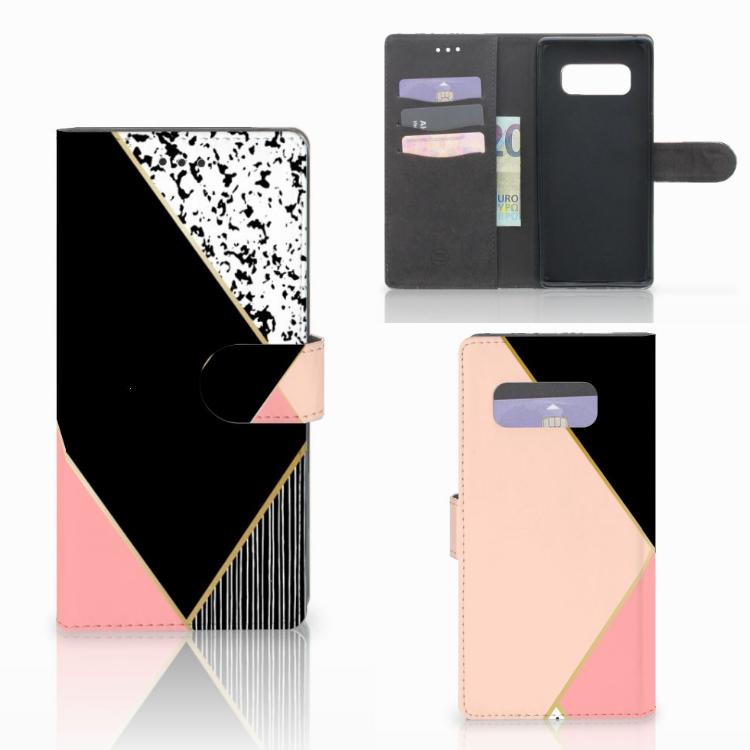 Samsung Galaxy Note 8 Bookcase Zwart Roze Vormen