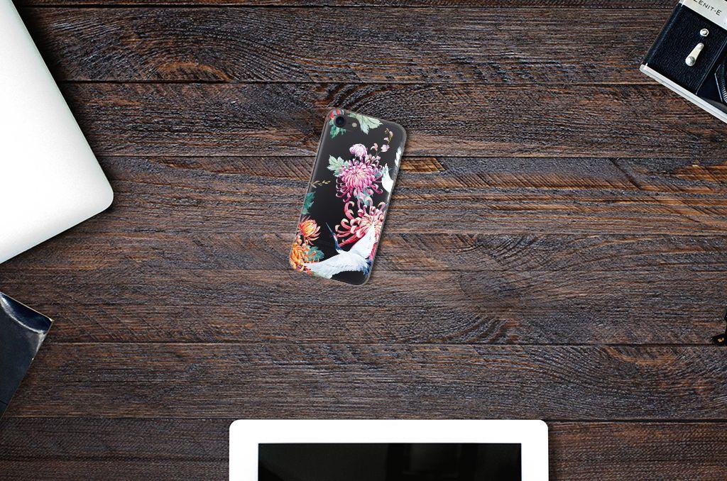 Apple iPhone 7   8 TPU Hoesje Bird Flowers