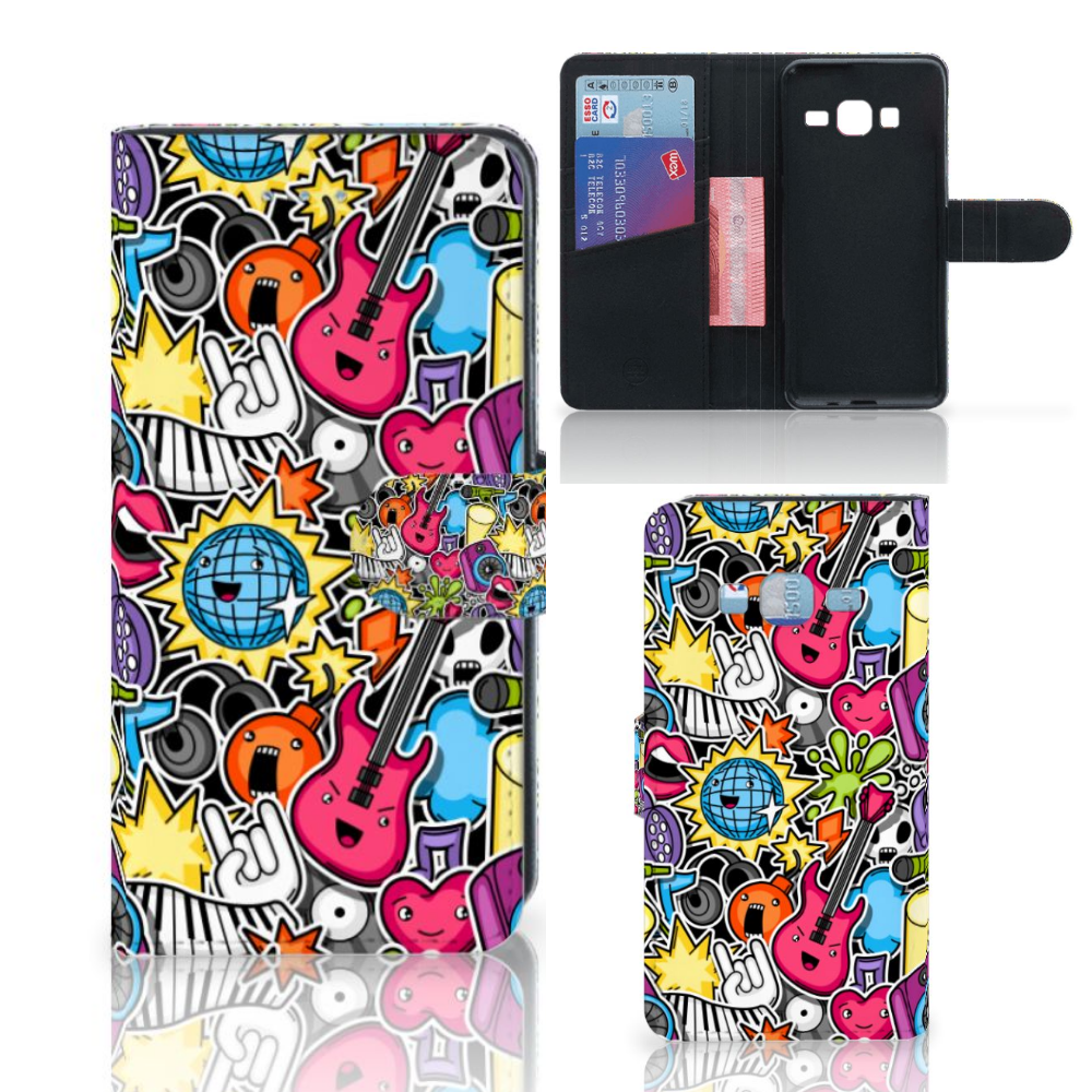Samsung Galaxy J3 2016 Wallet Case met Pasjes Punk Rock