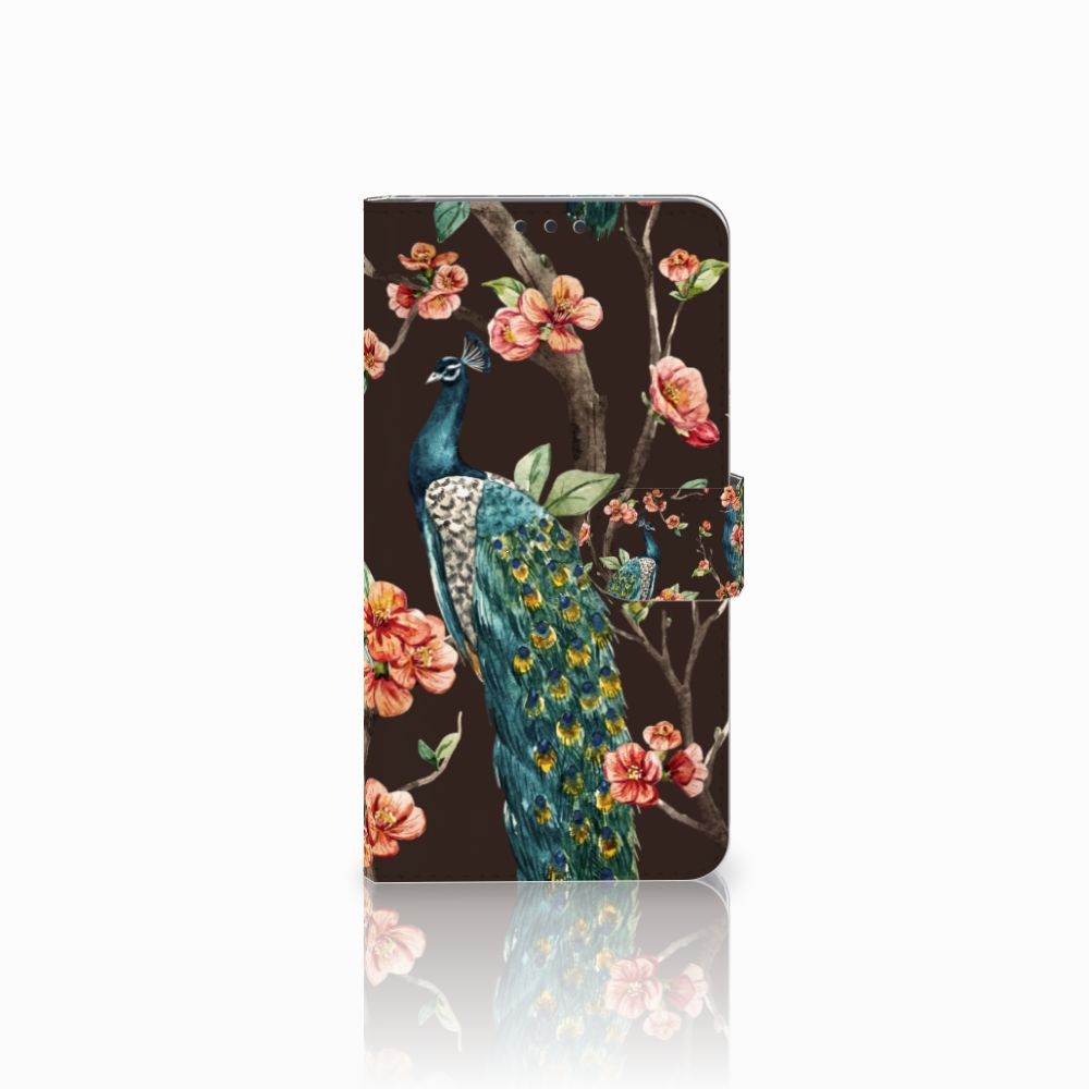 Microsoft Lumia 640 XL Telefoonhoesje met Pasjes Pauw met Bloemen