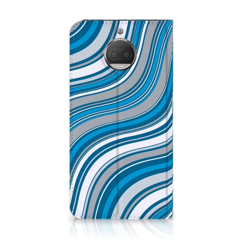 Motorola Moto G5S Plus Standcase Hoesje Design Waves Blue