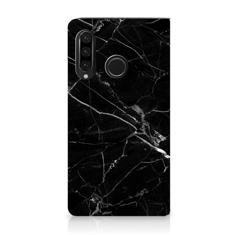 Huawei P30 Lite Uniek Standcase Hoesje Marmer Zwart