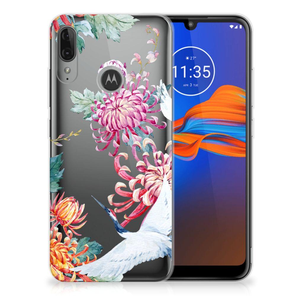 Motorola Moto E6 Plus TPU Hoesje Bird Flowers
