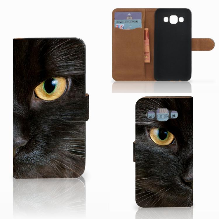 Samsung Galaxy E5 Telefoonhoesje met Pasjes Zwarte Kat