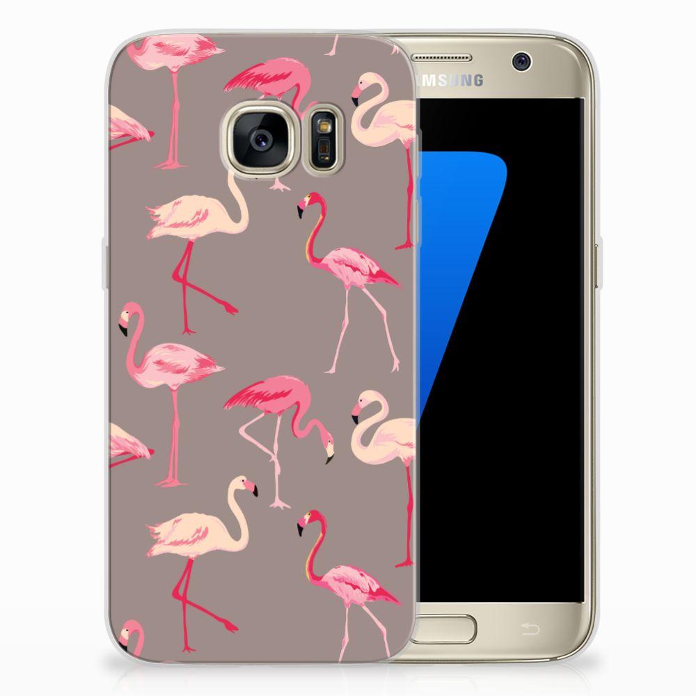 Samsung Galaxy S7 Uniek TPU Hoesje Flamingo