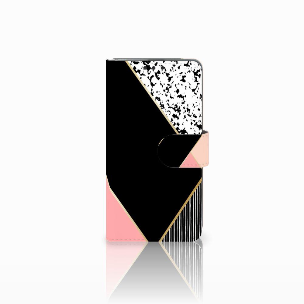 Microsoft Lumia 535 Boekhoesje Black Pink Shapes