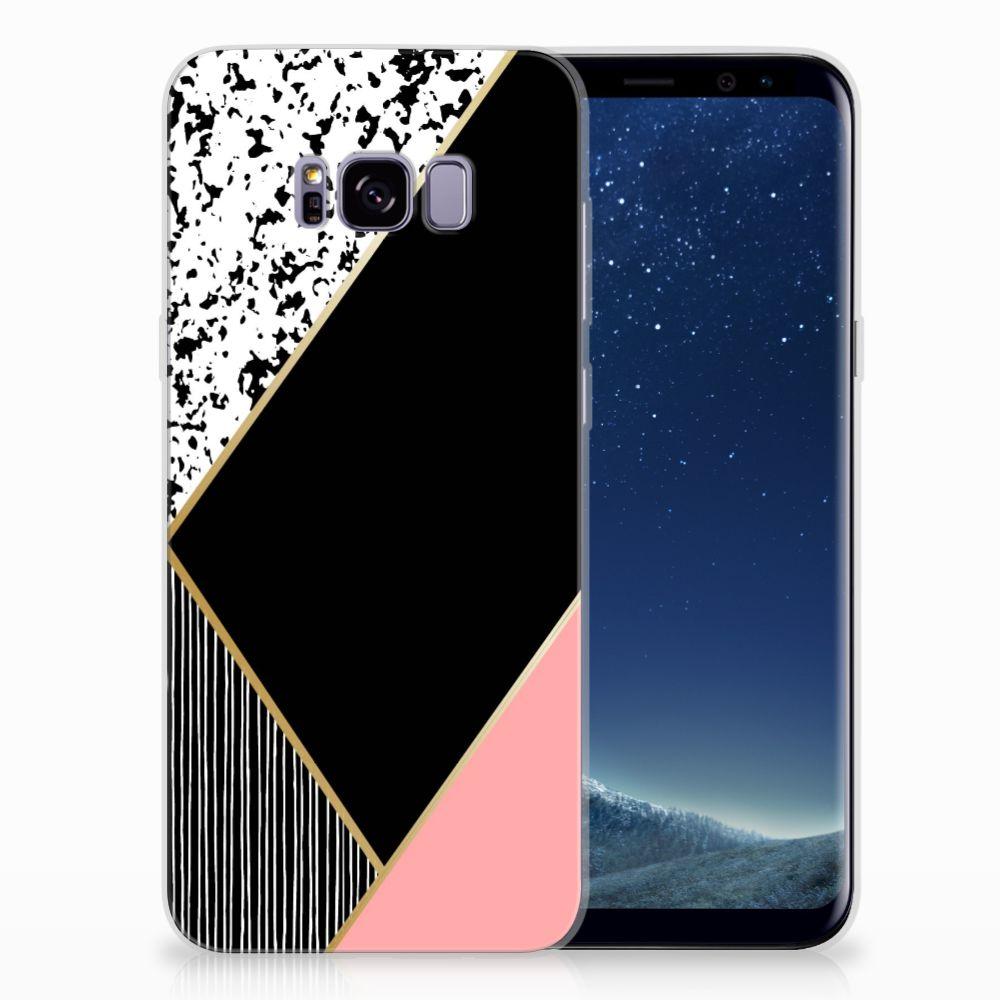 Samsung Galaxy S8 Plus Uniek TPU Hoesje Black Pink Shapes