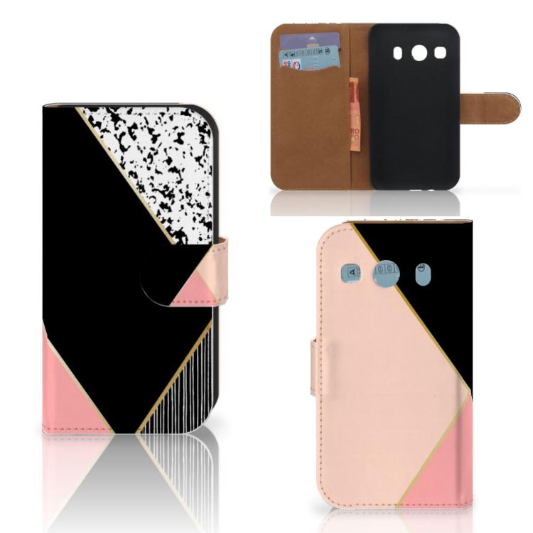 Samsung Galaxy Ace 4 4G (G357-FZ) Bookcase Zwart Roze Vormen