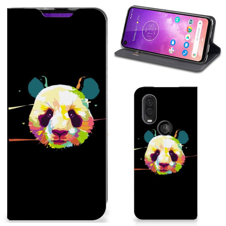 Motorola One Vision Magnet Case Panda Color