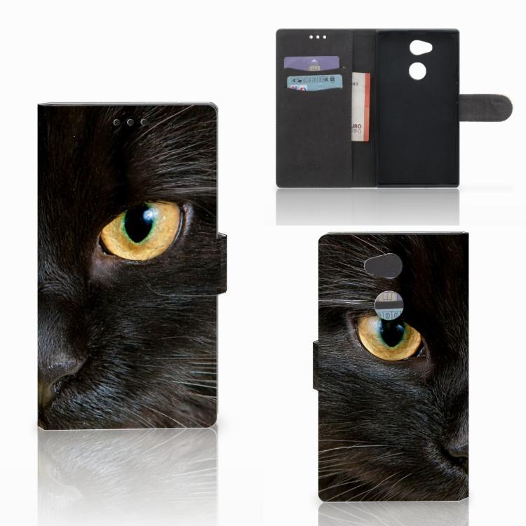 Sony Xperia L2 Telefoonhoesje met Pasjes Zwarte Kat