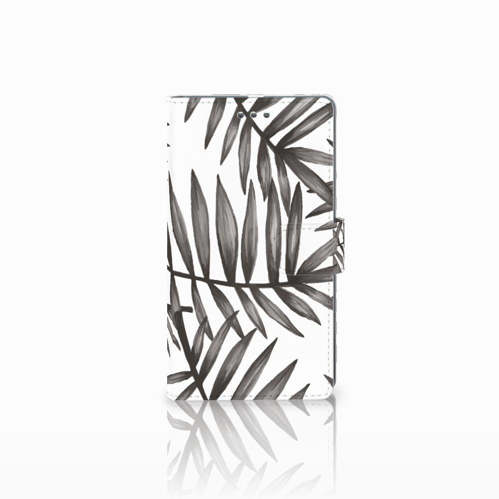 Microsoft Lumia 950 XL Uniek Boekhoesje Leaves Grey