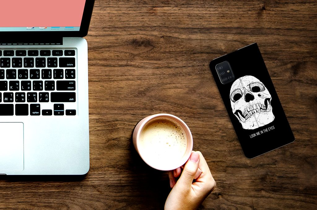 Mobiel BookCase Samsung Galaxy A51 Skull Eyes