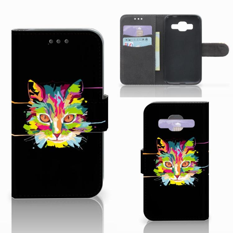 Samsung Galaxy Core Prime Leuke Hoesje Cat Color