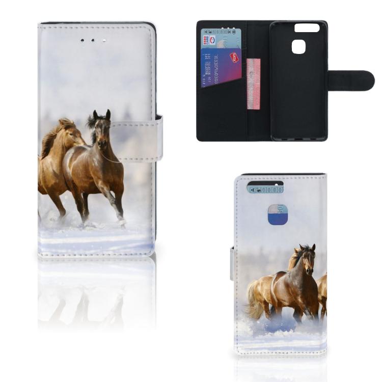 Huawei P9 Telefoonhoesje met Pasjes Paarden