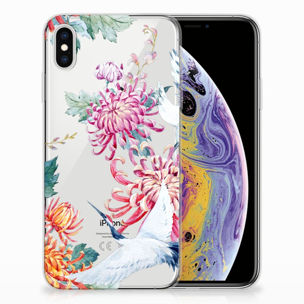 Apple iPhone Xs Max Uniek TPU Hoesje Bird Flowers