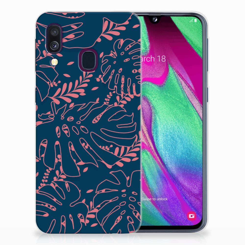 Samsung Galaxy A40 TPU Hoesje Design Palm Leaves