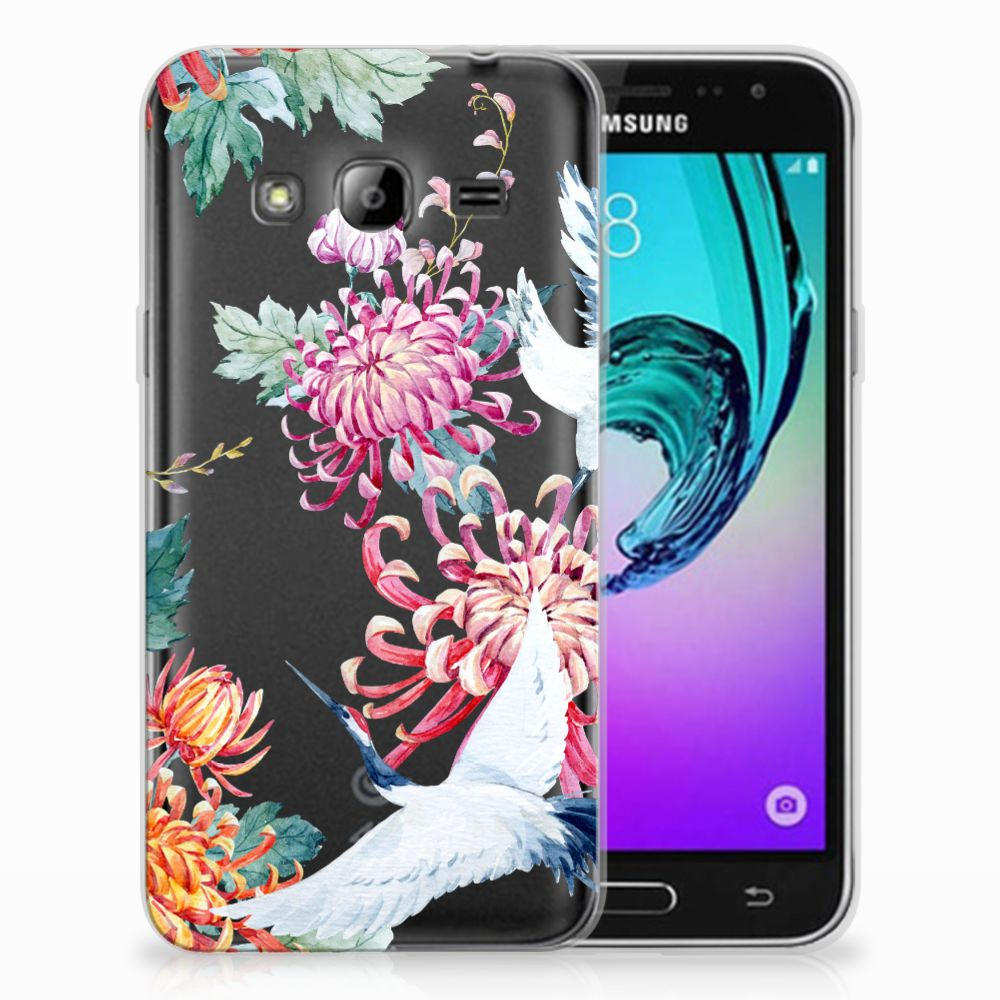 Samsung Galaxy J3 2016 TPU Hoesje Bird Flowers