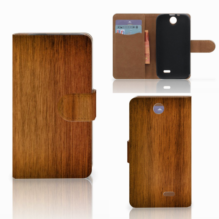 HTC Desire 310 Book Style Case Donker Hout