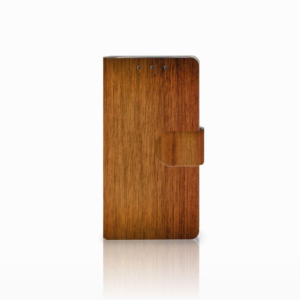 HTC One M7 Uniek Boekhoesje Donker Hout