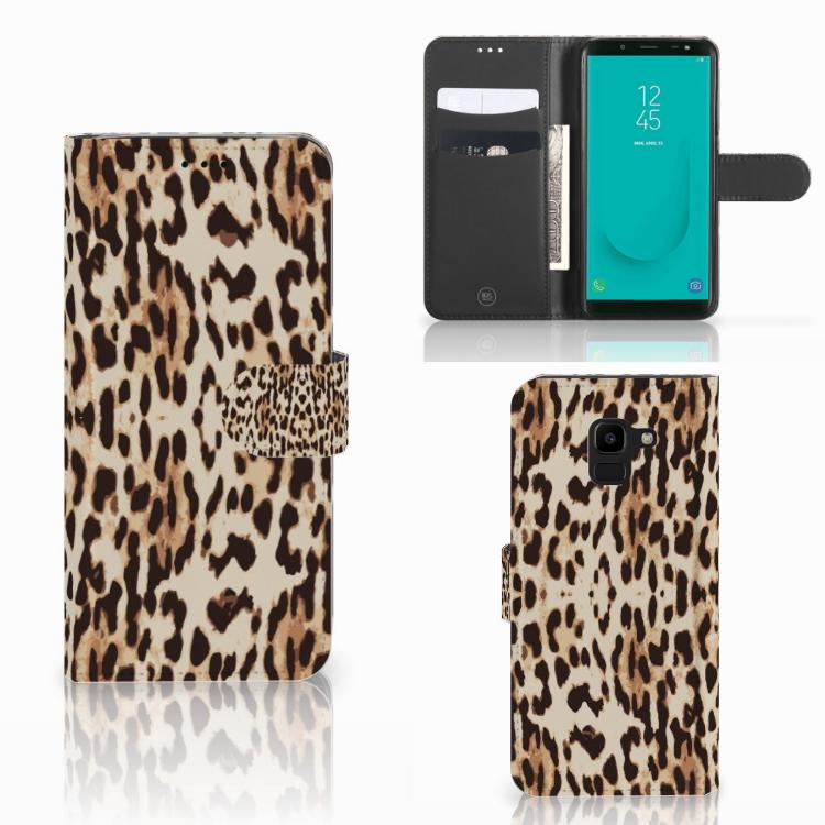 Samsung Galaxy J6 2018 Telefoonhoesje met Pasjes Leopard