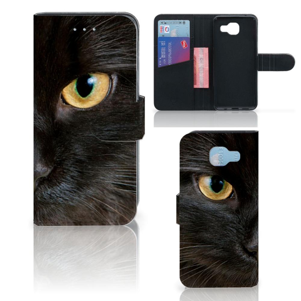 Samsung Galaxy A5 2016 Telefoonhoesje met Pasjes Zwarte Kat