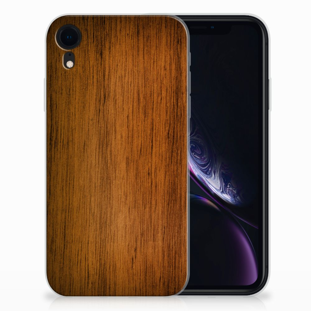 Apple iPhone Xr Bumper Hoesje Donker Hout