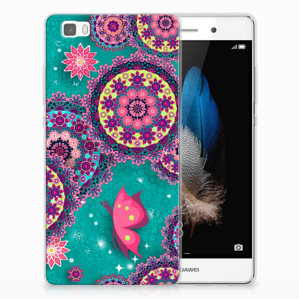 Huawei Ascend P8 Lite Uniek TPU Hoesje Cirkels en Vlinders