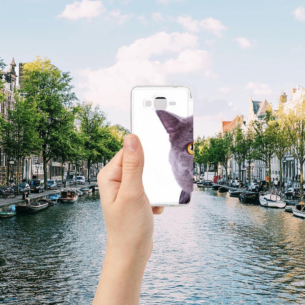 Samsung Galaxy Grand Prime Telefoonhoesje met Pasjes Kat