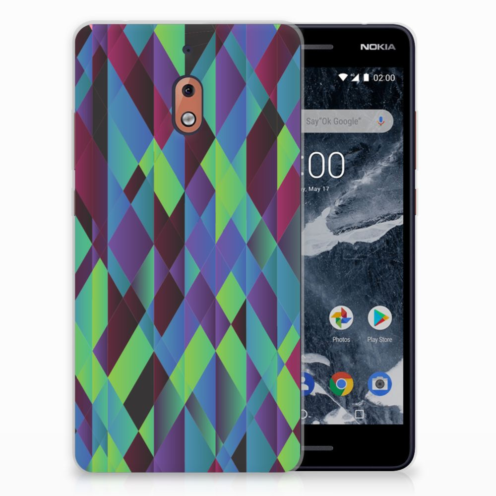 Nokia 2.1 (2018) TPU Hoesje Abstract Green Blue