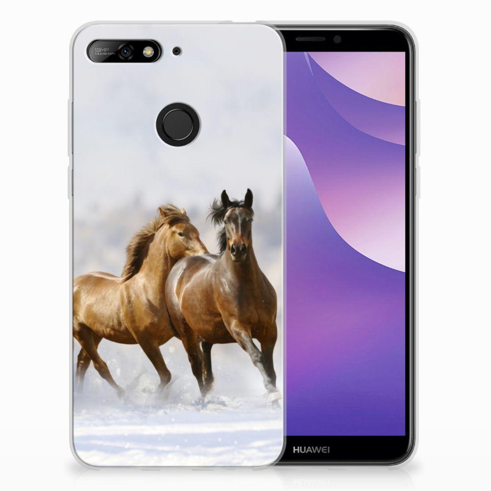 Huawei Y6 (2018) Uniek TPU Hoesje Paarden