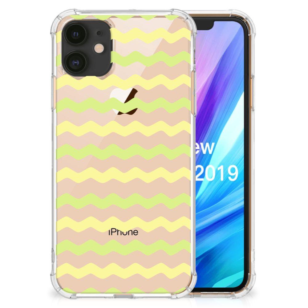 Apple iPhone 11 Doorzichtige Silicone Hoesje Waves Yellow
