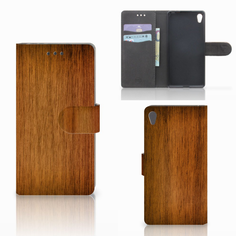 Sony Xperia E5 Book Style Case Donker Hout