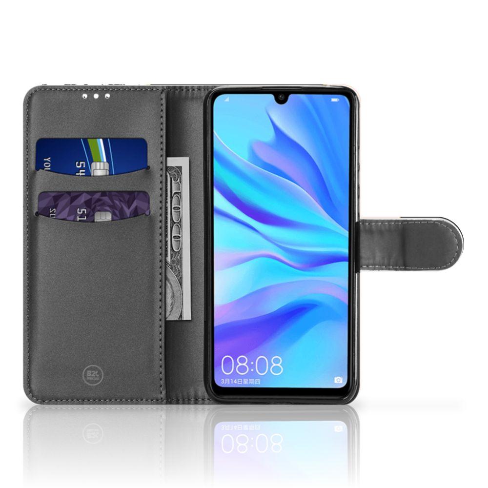 Huawei P30 Lite (2020) Bookcase Zwart Roze Vormen