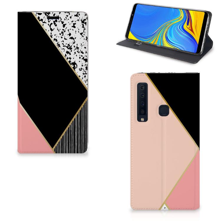 Samsung Galaxy A9 (2018) Stand Case Zwart Roze Vormen
