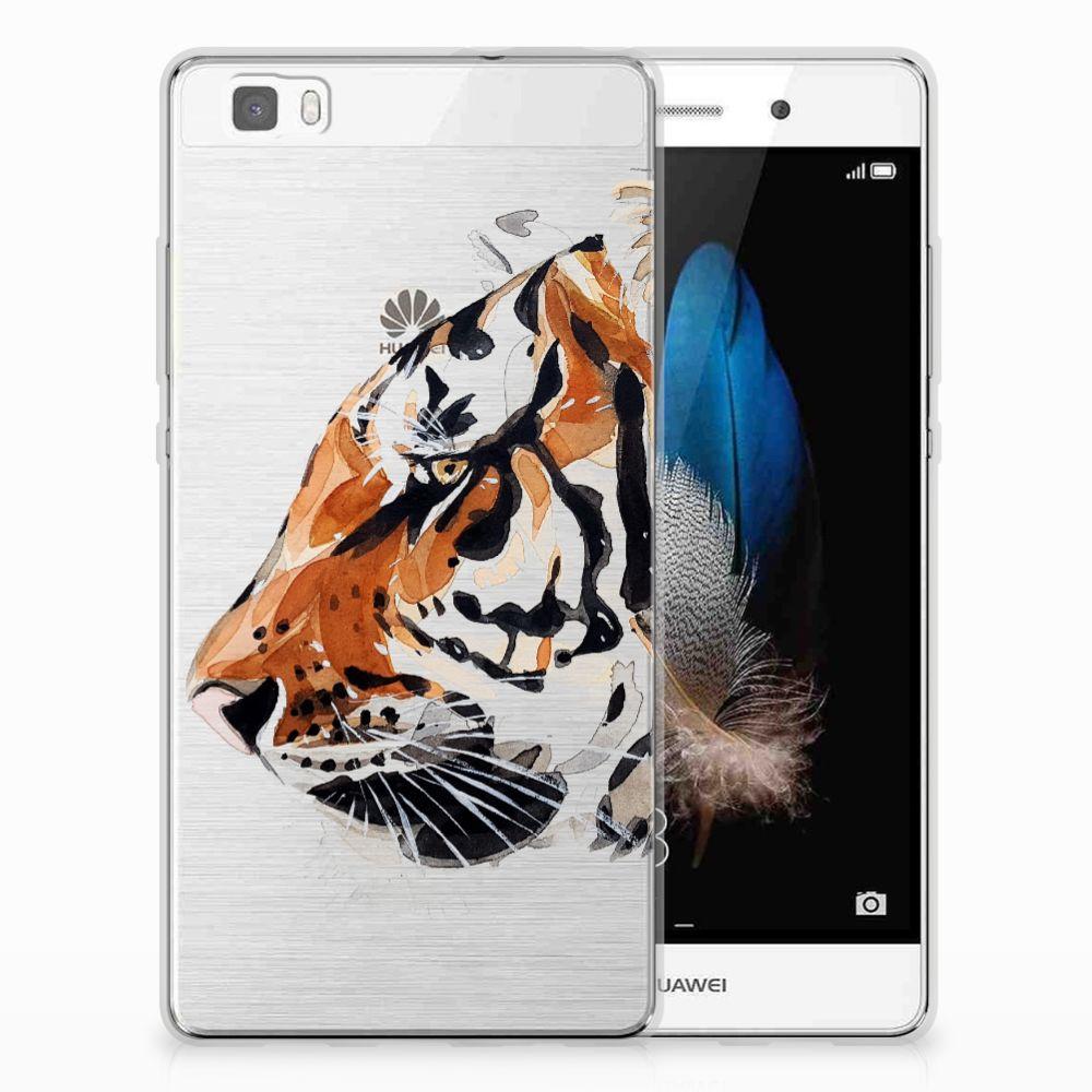 Huawei Ascend P8 Lite Uniek TPU Hoesje Watercolor Tiger
