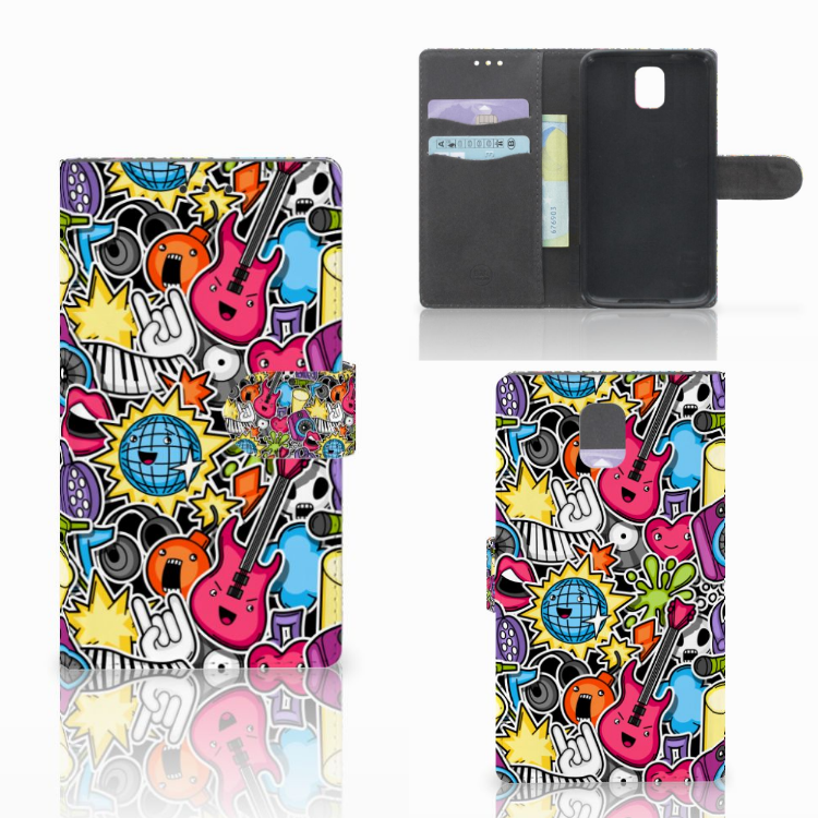 Samsung Galaxy Note 3 Wallet Case met Pasjes Punk Rock