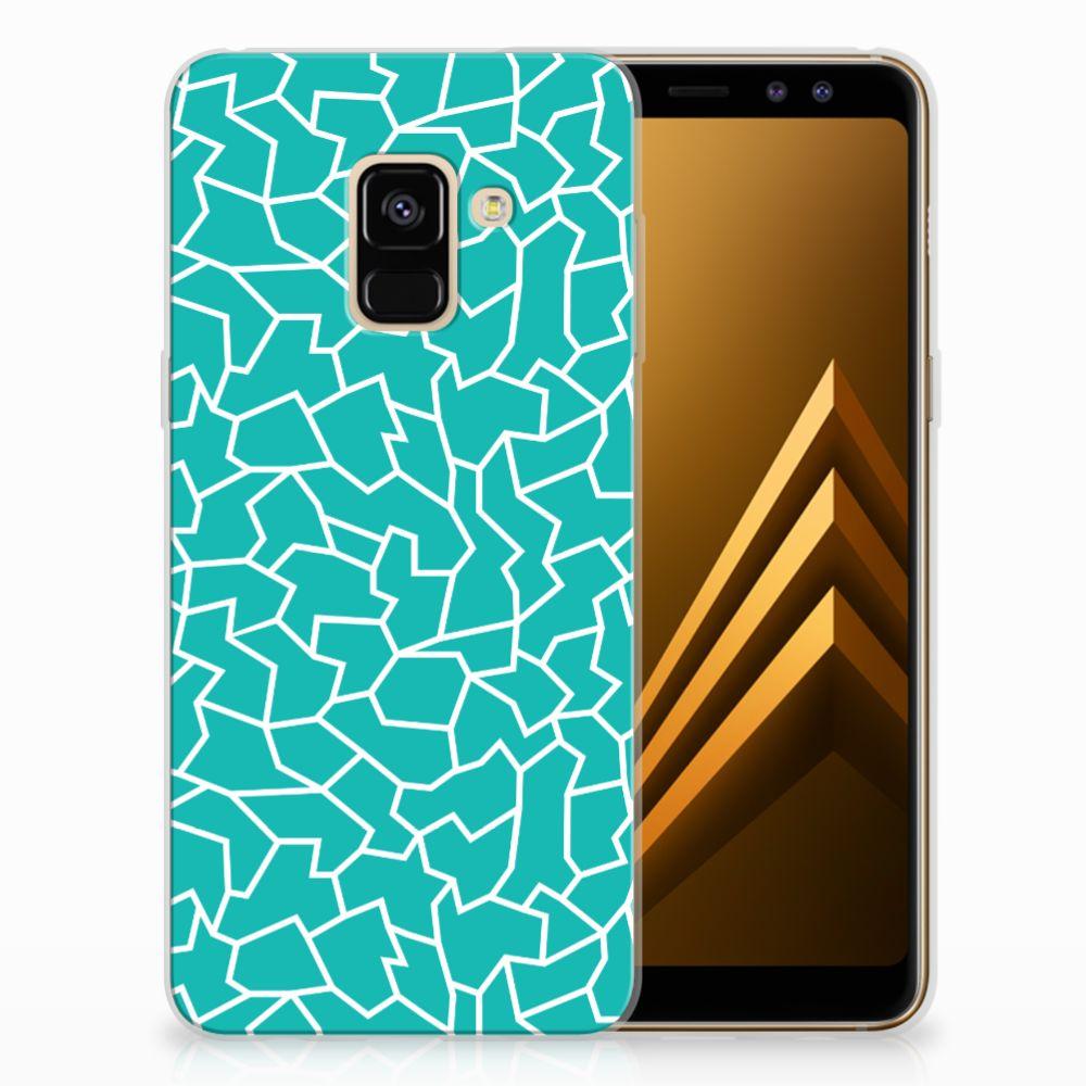 Samsung Galaxy A8 (2018) TPU Hoesje Design Cracks Blue