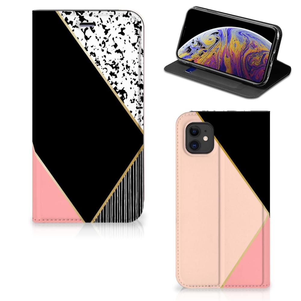 Apple iPhone 11 Stand Case Zwart Roze Vormen