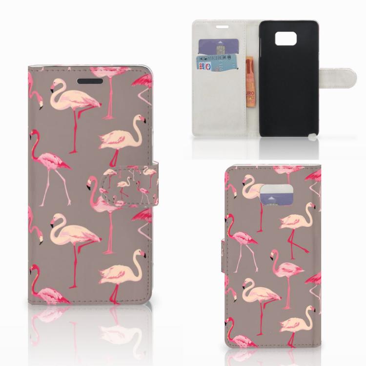 Samsung Galaxy Note 5 Telefoonhoesje met Pasjes Flamingo