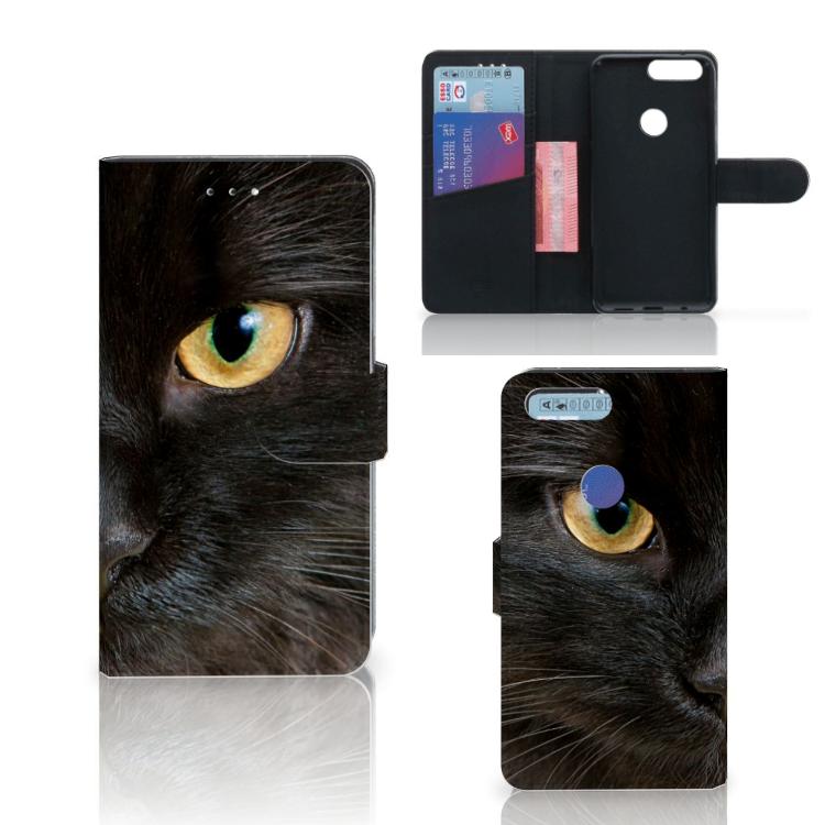OnePlus 5T Telefoonhoesje met Pasjes Zwarte Kat