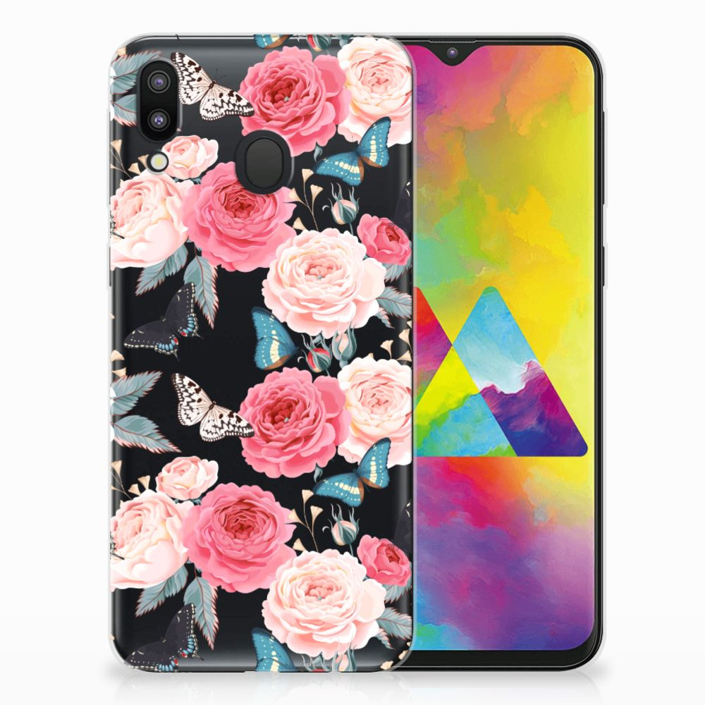 Samsung Galaxy M20 Uniek TPU Hoesje Butterfly Roses