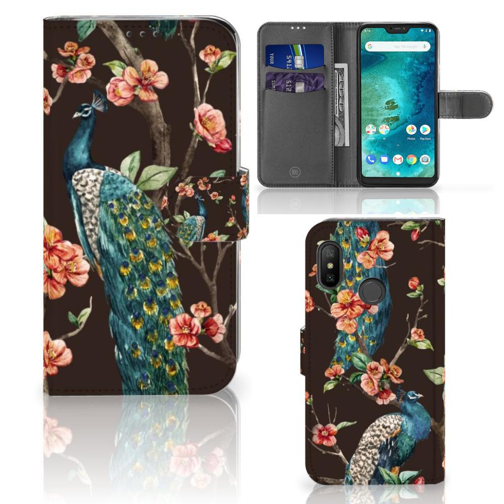 Xiaomi Mi A2 Lite Telefoonhoesje met Pasjes Pauw met Bloemen